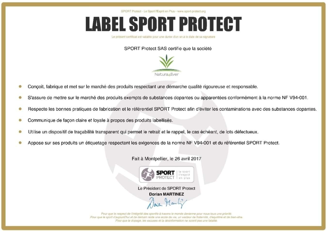 Label Sport Protect certificat